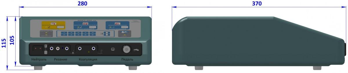 """ЭХВЧ-400 """"НИКОР"""" габаритные размеры (в миллиметрах) генератора"""